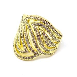Jewelry - Wide Band Gold Plated and CZ Diamond Ring